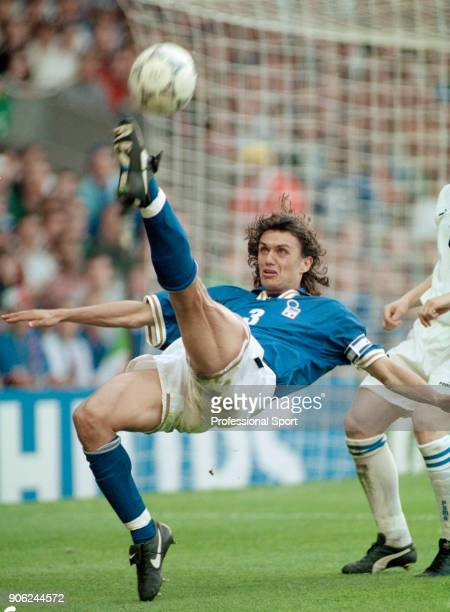 Paolo Maldini of Italy in action against the Czech Republic during a UEFA Euro96 Group C match at Anfield in Liverpool on 14th June 1996 The Czech...