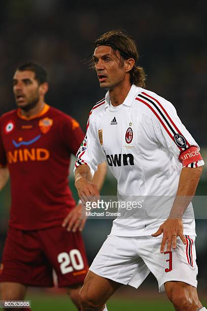 Paolo Maldini of Milan during the Serie A match between Roma and AC Milan at the Olympic Stadium on March 15 2008 in Rome Italy