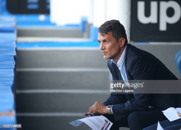 Paolo Maldini of Milan during the Serie A match between US Lecce and AC Milan at Stadio Via del Mare on June 22, 2020 in Lecce, Italy.
