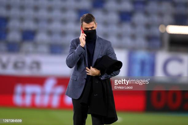 Paolo Maldini of Milan looks on before the Serie A match between Cagliari Calcio and AC Milan at Sardegna Arena on January 18, 2021 in Cagliari,...