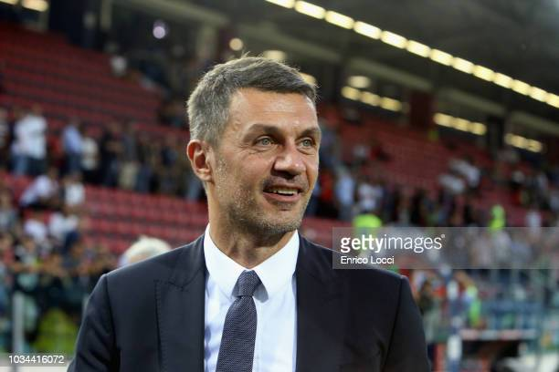 Paolo Maldini of Milan looks on during the serie A match between Cagliari and AC Milan at Sardegna Arena on September 16 2018 in Cagliari Italy
