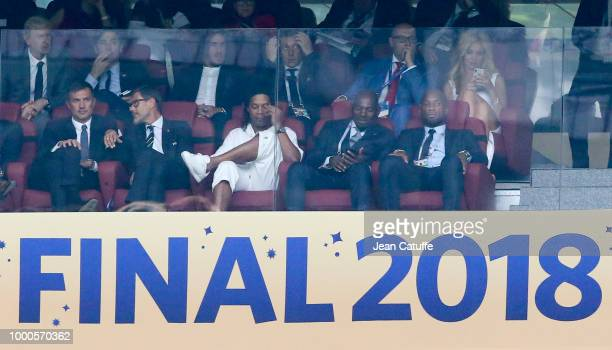Paolo Maldini Ronaldinho Didier Drogba attend the 2018 FIFA World Cup Russia Final match between France and Croatia at Luzhniki Stadium on July 15...
