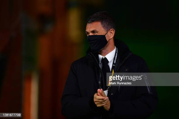 Paolo Maldini, technical director of AC Milan arrives at the stadium prior to the UEFA Europa League Group H stage match between Celtic and AC Milan...