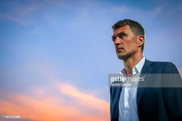 Paolo Maldini, technical director of AC Milan, looks on prior to the pre-season friendly football match between Cesena FC and AC Milan. The match...