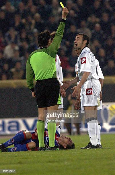 Paolo Montero of Juventus is cautioned during the Serie A match between Bologna and Juventus played at the Renato Dall'Arra Stadium Bologna Italy on...