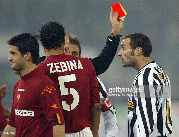Paolo Montero of Juventus receives the red card during the soccer match against AS Roma at the Olympic stadium in Rome 08 February 2004 AS Roma won...