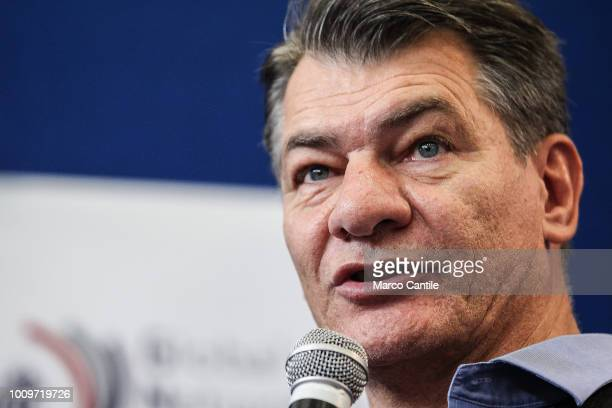 Paolo Nespoli, a famous italian astronaut, during a press conference.