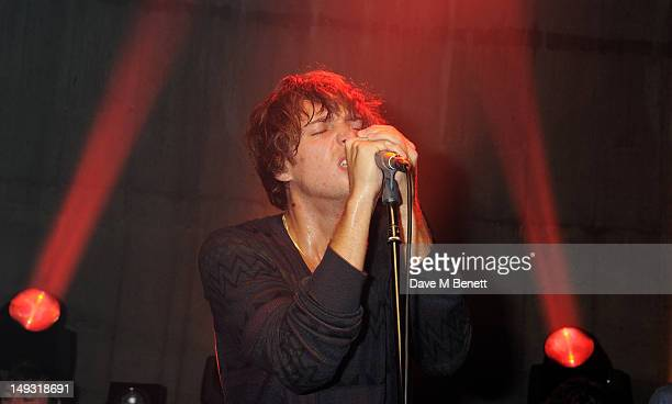 Paolo Nutini performs at the Warner Music Group PreOlympics Party in the Southern Tanks Gallery at the Tate Modern on July 26 2012 in London England