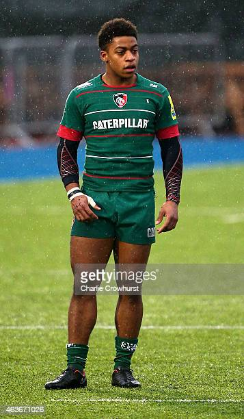 Paolo Odogwu of Leicester during the Premiership Rugby/RFU U18 Academy Finals Day match between Leicester and Bath at The Allianz Park on February 16...