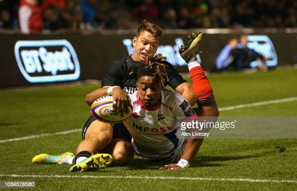 Paolo Odogwu of Sale Sharks scores a try during the Premiership Rugby Cup match between Sale Sharks and Saracens at AJ Bell Stadium on November 2...