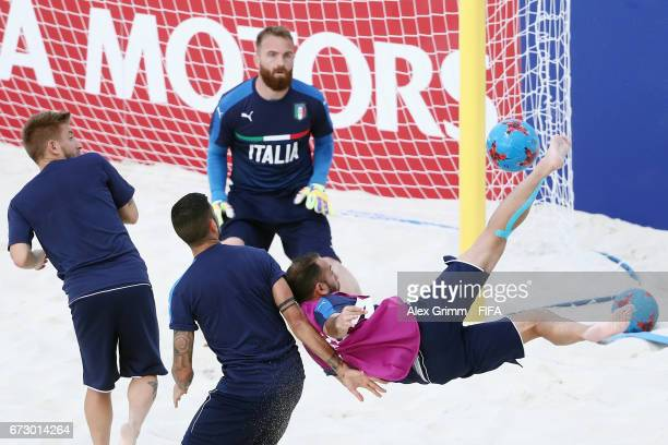 Paolo Palmacci of Italy attempts a bicycle kick during an Italy training session before the FIFA Beach Soccer World Cup Bahamas 2017 at National...