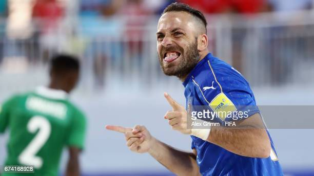 Paolo Palmacci of Italy celebrates a goal during the FIFA Beach Soccer World Cup Bahamas 2017 group B match between Nigeria and Italyat National...