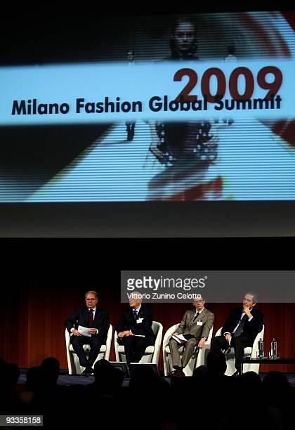 Paolo Panerai Mario Boselli James Rutter Giovanni Terzi attend the 2009 Milan Fashion Global Summit on November 24 2009 in Milan Italy The Summit...