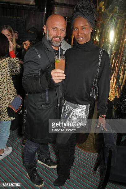 Paolo Pecoraro and Aicha Mckenzie attend an after party celebrating the FENDI Sloane Street Boutique opening at Isabel on December 14 2017 in London...