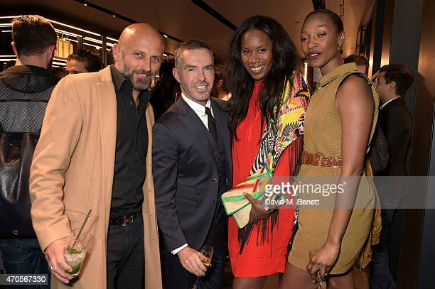 Paolo Pecoraro D2 designer Dan CatenAicha McKenzieCEO Founder of AMCK Models with Vanessa Kingori attend the DSQUARED2 celebration of London Flagship...
