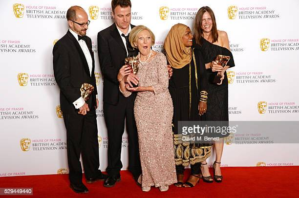 Paolo Proto Andy Devonshire Mary Berry Nadiya Hussain and Anna Beattie winners of Best Feature award for 'The Great British Bake Off' pose in the...