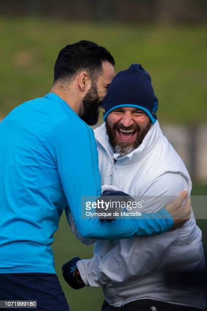 Paolo Rongoni and Adil Rami during a training session at Centre RobertLouis Dreyfus on December 12 2018 in Marseille France