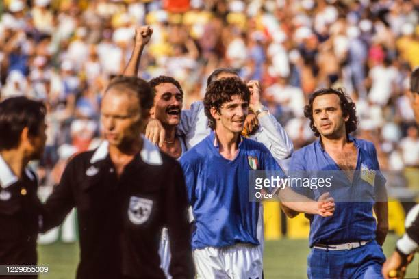 Paolo Rossi of Italy celebrate the victory during the second stage of the 1982 FIFA World Cup match between Italy and Brazil, at Sarria Stadium,...