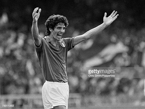 Paolo Rossi of Italy celebrates after scoring one of his two goals in the FIFA World Cup SemiFinal between Italy and Poland at the Nou Camp Stadium...