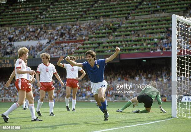 Paolo Rossi of Italy celebrates his goal during the FIFA World Cup SemiFinal against Poland in Barcelona on 8th July 1982 Italy won 20