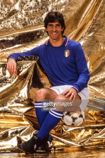 Paolo ROSSI of Italy during photo session during which the player receives the Onze trophy, at Paris, France on 15th November 1982
