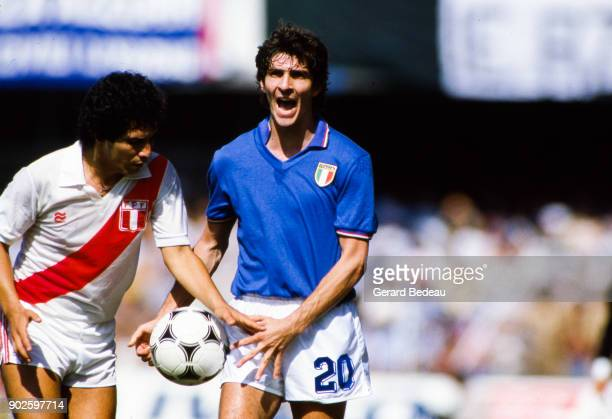 Paolo Rossi of Italy during the World Cup match between Italy and Peru at Balaidos Stadium Vigo Spain on 18h June 1982