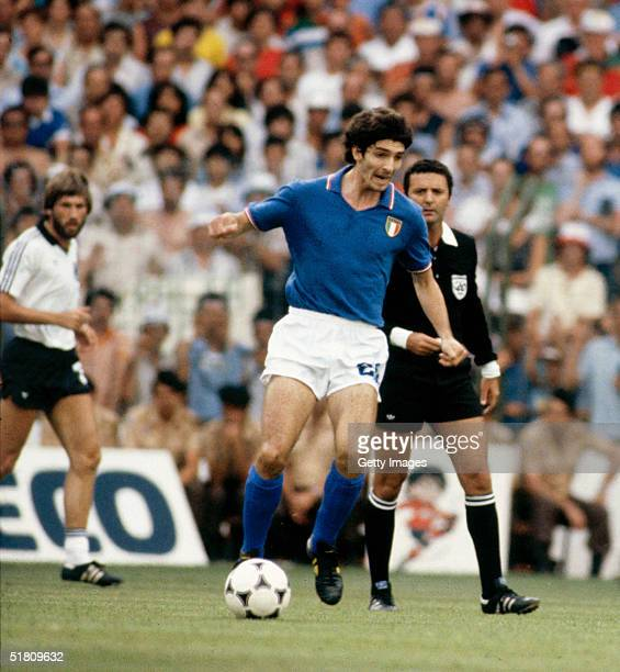 Paolo Rossi of Italy in action during the World Cup Final match between West Germany and Italy held at the Bernabeu Stadium Madrid Spain on July 11...