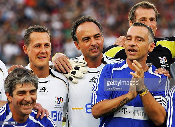 Paolo Rossi of Italy, Michael Schumacher, Hansi Mueller and goalkeeper Ulli Stein and singer Eros Ramazzotti of Italy are seen prior to a jubilee...