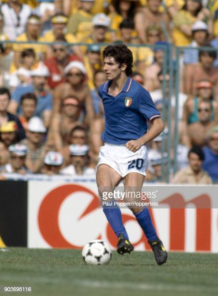 Paolo Rossi on the ball for Italy during their FIFA World Cup match against Brazil at the Estadio Sarria in Barcelona 5th July 1982 Rossi scored a...