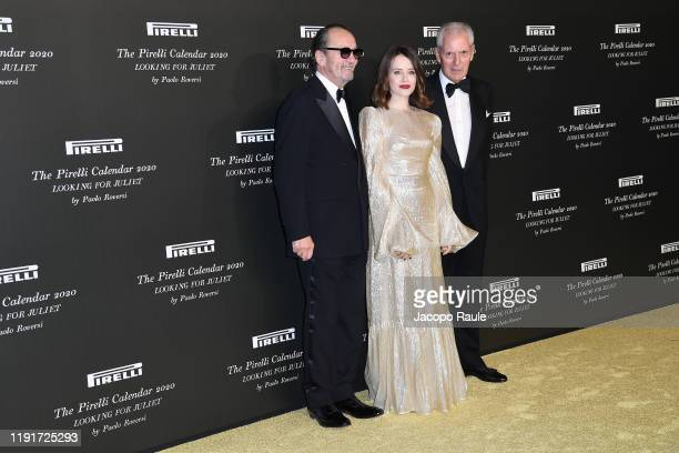 """Paolo Roversi, Claire Foy and Marco Tronchetti Provera attend the presentation of the Pirelli 2020 Calendar """"Looking For Juliet"""" at Teatro..."""