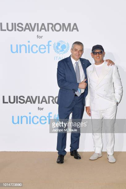Paolo Rozera and Andrea Panconesi attend a photocall for the Unicef Summer Gala Presented by Luisaviaroma at Villa Violina on August 10 2018 in Porto...