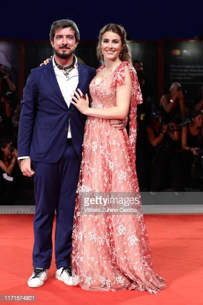 Paolo Ruffini and Diana Del Bufalo walk the Filming In Italy red carpet during the 76th Venice Film Festival at Sala Grande on September 01 2019 in...
