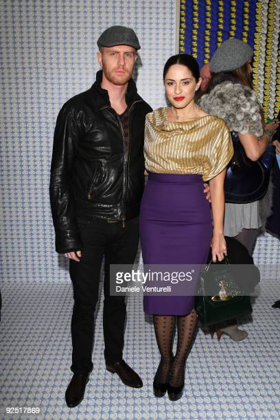 Paolo Santambrogio and Paola Iezzi attends the Thomas Bayrle preview at the Cardi Black Box Gallery on October 29 2009 in Milan Italy