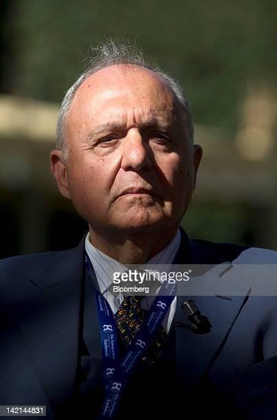 Paolo Savona, chairman of Italy's Interbank Deposit Protection fund, the Fondo Interbancario di Tutela dei Depositi, pauses during a television...