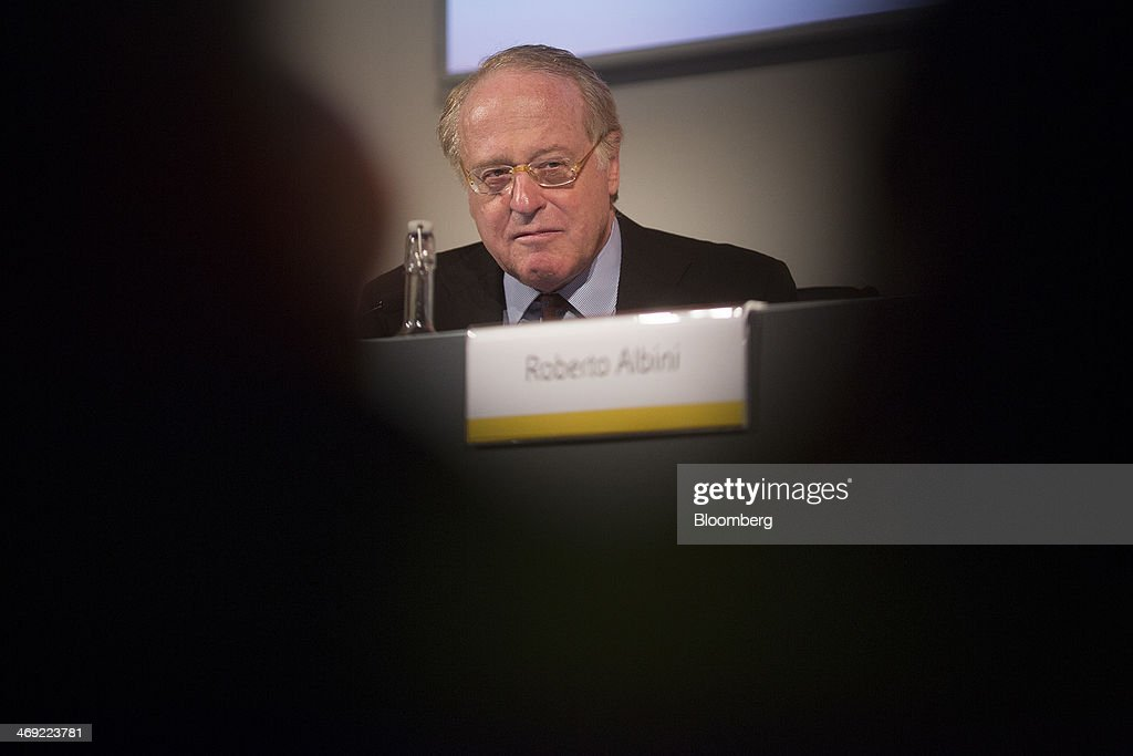 Paolo Scaroni, chief executive officer of Eni SpA, listens during a news conference following the company's 2014-2017 strategy presentation in London, U.K., on Thursday, Feb. 13, 2014. Eni SpA, Italy's biggest oil company, said profit slumped 14 percent in the fourth quarter due to production halts in Libya and Nigeria and shrinking refining margins. Photographer: Simon Dawson/Bloomberg via Getty Images