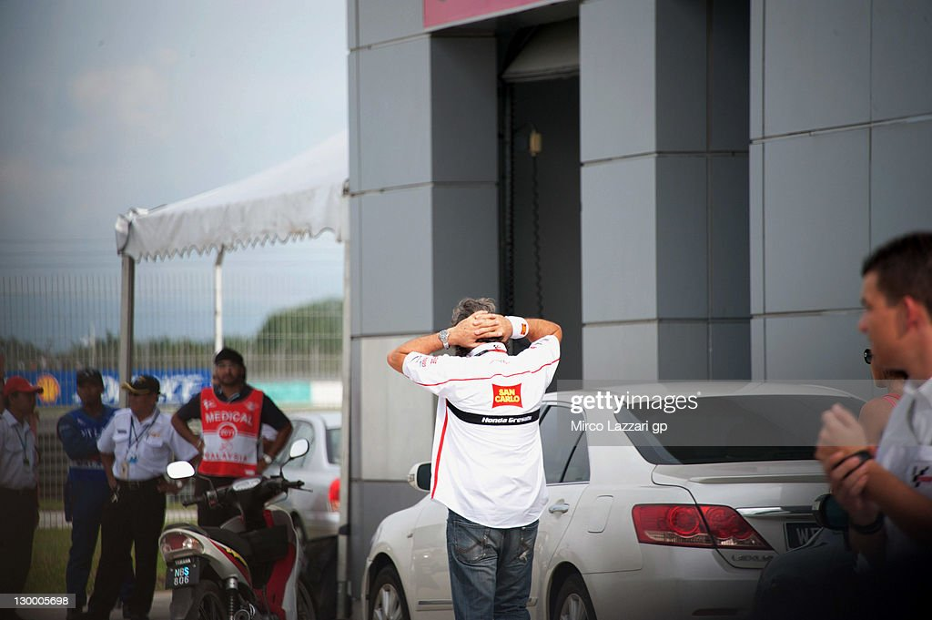 Paolo Simoncelli, father of Marco Simoncelli of Italy and San Carlo Honda Gresini, at a medical facility after the MotoGP of Malaysia was stopped following the fatal crash of his son at Sepang Circuit on October 23, 2011 in Kuala Lumpur, Malaysia. 24-year-old Italian MotoGP rider Marco Simoncelli has died following a crash involving Valentino Rossi and Colin Edwards during the Malaysian MotoGP in Sepang, Malaysia.