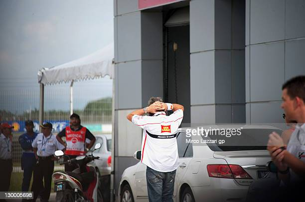 Paolo Simoncelli father of Marco Simoncelli of Italy and San Carlo Honda Gresini at a medical facility after the MotoGP of Malaysia was stopped...