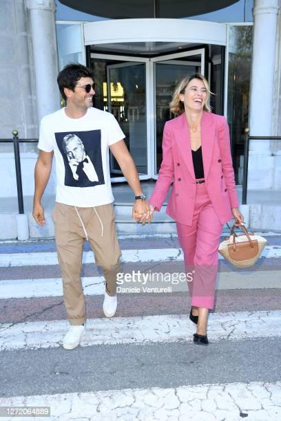 Paolo Sopranzetti and Anna Foglietta are seen arriving at the 77th Venice Film Festival on September 12, 2020 in Venice, Italy.