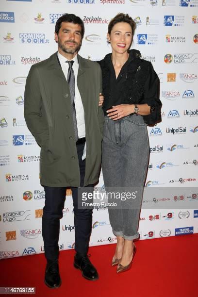 Paolo Sopranzetti and Anna Foglietta attend a photocall for La Pellicola D'oro award at Teatro Brancaccio on May 03, 2019 in Rome, Italy.