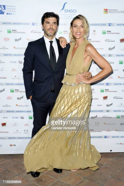 Paolo Sopranzetti and Anna Foglietta attend the Nastri D'Argento cocktail party in Taormina on June 29, 2019 in Taormina, Italy.