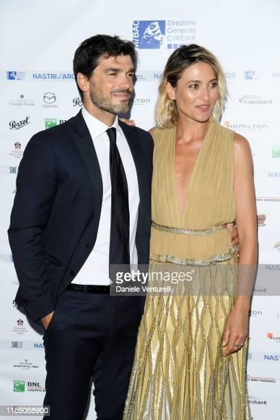 Paolo Sopranzetti and Anna Foglietta attend the Nastri D'Argento cocktail party in Taormina on June 29 2019 in Taormina Italy