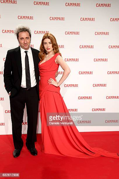 Paolo Sorrentino and Caroline Tillette walk the red carpet for 'Campari Red Diaries Killer In Red' on January 24 2017 in Rome Italy