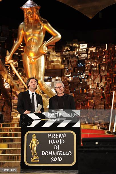 Paolo Sorrentino and Tullio Solenghi attend the 'David Di Donatello' movie awards at the Auditorium Conciliazione on May 7 2010 in Rome Italy