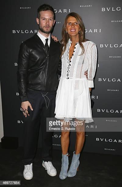 Paolo Stella and Anna Dello Russo attend Bulgari celebration of Design Week on April 14 2015 in Milan Italy