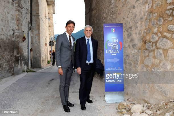 Paolo Tagliavento and Marcello Nicchi attend 'Un Goal per l'Italia' Event on May 22, 2017 in Norcia, Italy.