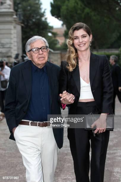 Paolo Taviani and Vittoria Puccini attend Globi D'Oro awards ceremony at the Academie de France Villa Medici on June 13 2018 in Rome Italy
