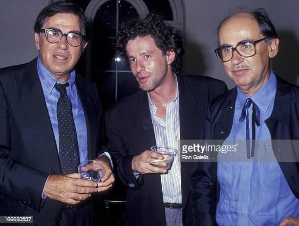Paolo Taviani Joaquim De Almeida and Vittoria Taviani attend the premiere of Good Morning Babylon on July 8 1987 at the Italian Cultural Institute in...