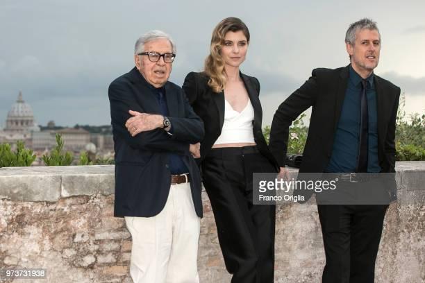 Paolo Taviani Vittoria Puccini and Fabrizio Lucci attend Globi D'Oro awards ceremony at the Academie de France Villa Medici on June 13 2018 in Rome...
