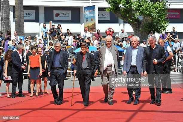 Paolo Taviani, Vittorio Taviani, Directors Bertrand Tavernier, Jean-Pierre Dardenne and Luc Dardenne attend the 'Lumiere!' Premiere during the 68th...