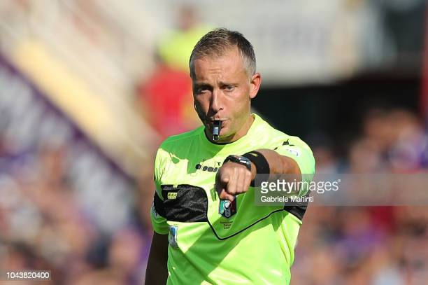 Paolo Valeri referee during the Serie A match between ACF Fiorentina and Atalanta BC at Stadio Artemio Franchi on September 30 2018 in Florence Italy